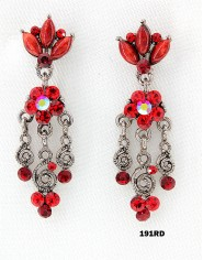 Crystal Earrings  - Red - ER-191RD