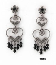 Crystal Earrings  - Black - ER-263BK