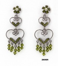 Crystal Earrings  - Green - ER-263GN