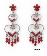 Crystal Earrings  - Red - ER-263RD