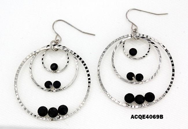 Triple Hoops Crystal Dangle Earrings/ Silver Tone - Black - ER-ACQE4069B