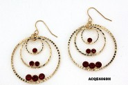 Triple Hoops Crystal Dangle Earrings/ Gold Tone - Red - ER-ACQE4069H