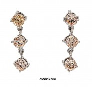 Triplets CZ Earrings - Topaz - ER-ACQE4073G