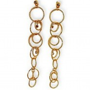 Gold Ring Link Earrings- Topaz - ER-CQE956G