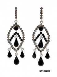Crystal Big Leaf w/ Tear Drops Earrings - Black - ER-EA1392BK