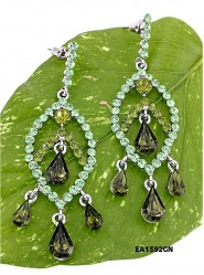 Crystal Big Leaf w/ Tear Drops Earrings - Green - ER-EA1392GN
