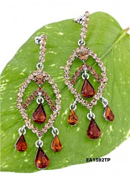 Crystal Big Leaf w/ Tear Drops Earrings - Topaz -  ER-EA1392TP