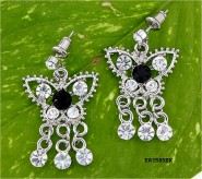 Crystal Big Butterfly w/ Danglings - Black/Clear - ER-EA1565BK