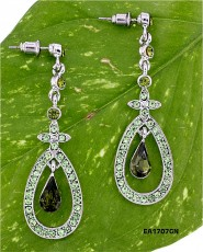 Crystal Open Tear Drop earrings - Green - ER-EA1707GN