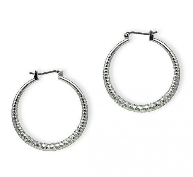 Silver Look Hoops Earrings - Silver - ER-HC332S