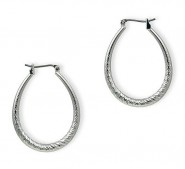 Silver Look Hoops Earrings - Silver - ER-HD3S-S