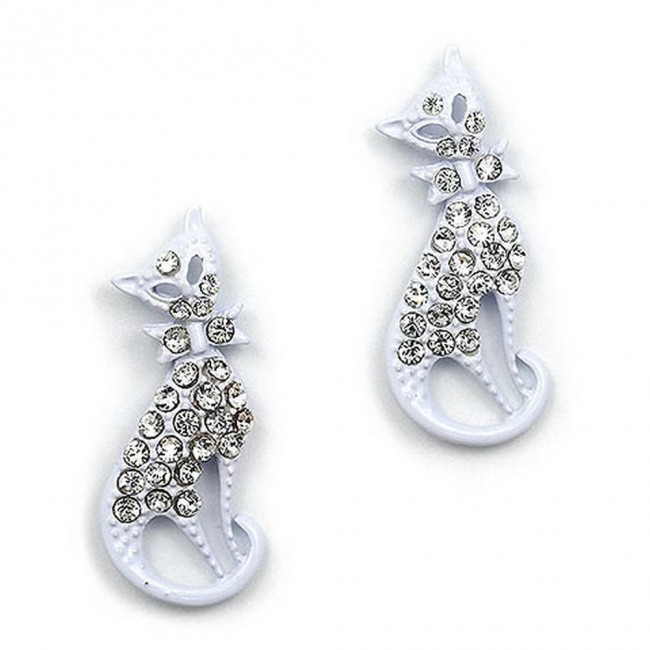 Rhinetone Post Earrings - Kitty - White - ER-JER4422WT