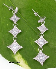 Earrings - 925 Sterling Silver w/ CZ - 4 Diamonds Shape - ER-PER8715CL