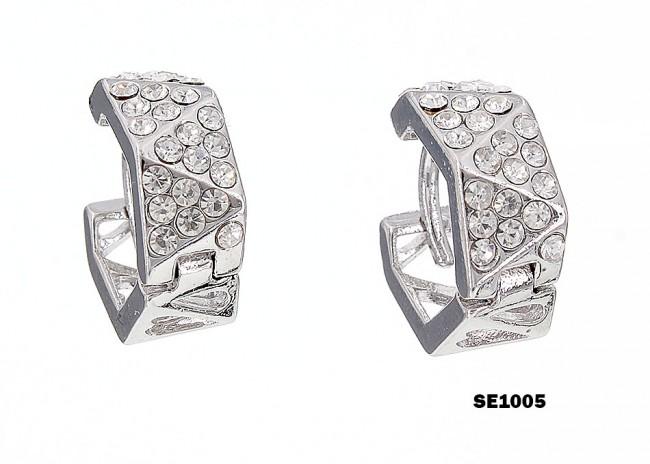 Rhodium Plated Rhinestone Small Hoop Earrings - ER-SE1005