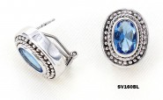 925 Sterling Silver Earrings w/ CZ - Blue - ER-SV160BL