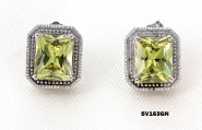 925 Sterling Silver Earrings w/ CZ - Green - ER-SV163GN