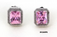 925 Sterling Silver Earrings w/ CZ - Pink - ER-SV163PK