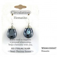 "Semi Precious Stone Earrings - Hematite- "" CIRCULATION ""  "" - ER-WE0001SS-HMT"