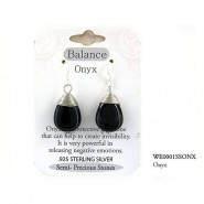"Semi Precious Stone Earrings - Onyx- "" BALANCE "" - ER-WE0001SS-ONX"