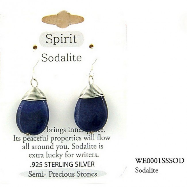 "Semi Precious Stone Earrings - Sodalite- ""SPIRIT "" - ER-WE0001SS-SOD"