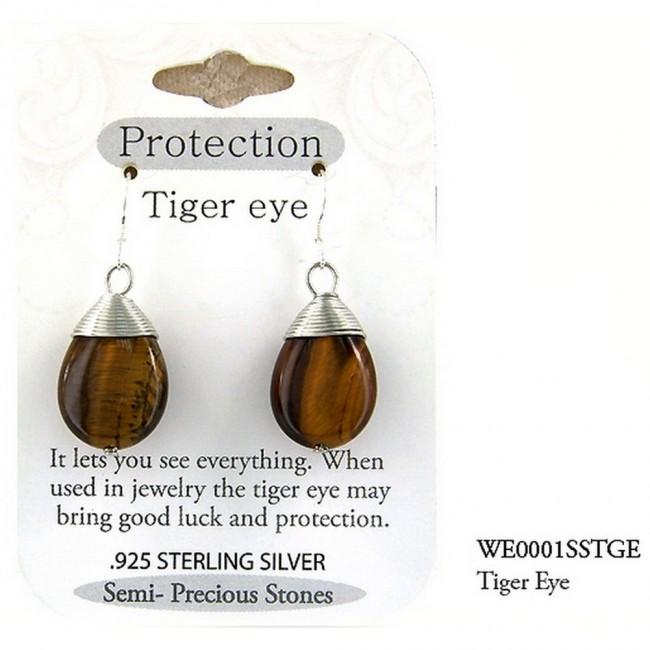 "Semi Precious Stone Earrings - Tiger Eye -""PROTECTION "" - ER-WE0001SS-TGE"