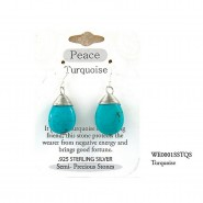 "Semi Precious Stone Earrings - Turquoise - ""PEACE "" - ER-WE0001SS-TQS"