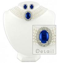 Multi Chain Oval Pendant Necklace & Earrings Set