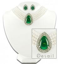 Multi Chain Tear Drop Pendant Necklace & Earrings Set