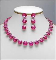 Gift Set - Swarovski Necklace & Earring Set - Pink