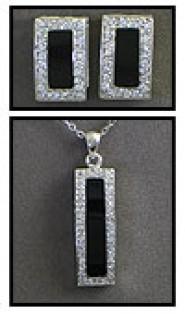 Gift set: Swarovski Cubic Zirconia w/ Onyx Necklace & Earring Set