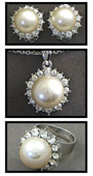 Gift set: Pearl Necklace + Earrings + Ring Set