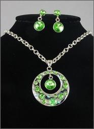 Gift set: Swarovski Crystal Round Charm Necklace & Earrings Set - Rhodium Plating - Green