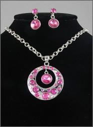 Gift set: Swarovski Crystal Round Charm Necklace & Earrings Set - Rhodium Plating - Pink