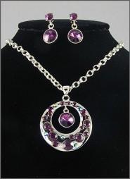 Gift set: Swarovski Crystal Round Charm Necklace & Earrings Set - Rhodium Plating - Purple