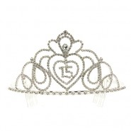 Tiara w/ Side Comb - 15th Birth Day Clear Crystal Stones
