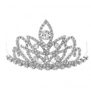 Small Tiara w/ Comb - Clear Crystal Stones