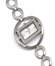 Lady Watch - Rhinestone Square Shape Frame w/ Loop Links Band - Silver - WT-L80670SV