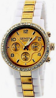 Lady Watch - Two-tone Metal Band w/ Rhinestone Accent - White/Gold m- WT-MN7007GD-WTGD