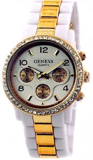 Lady Watch - Two-tone Metal Band w/ Rhinestone Accent - White/Gold - WT-MN7007SL-WTGD