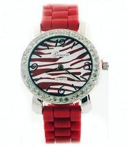 Lady Watch - Slicone Band w/ Stripes Dial - Brown -WT-MN8001Z-BN