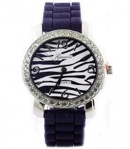 Lady Watch - Slicone Band w/ Stripes Dial - Purple -WT-MN8001Z-PL