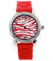 Lady Watch - Slicone Band w/ Stripest Dial - Red - WT-MN8001Z-RD