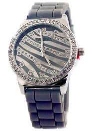 Lady Watch - Slicone Band w/ Stripes Dial - Gray - WT-MN8003GY