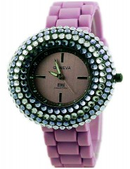 Lady Watch - Slicone Band w/ Rhinestones - Purple - WT-MN8021PL