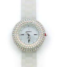 Lady Watch - Slicone Band w/ Rhinestones - White/Clear -WT-MN8021WTCL