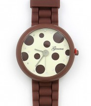 Lady Watch - Slicone Band w/ Polka Dots Dial - Brown -WT-MN8038P-BN