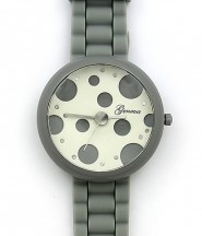 Lady Watch - Slicone Band w/ Polka Dots Dial - Gray -WT-MN8038P-GY