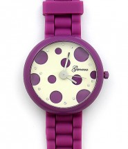 Lady Watch - Slicone Band w/ Polka Dots Dial - Purple -WT-MN8038P-PL